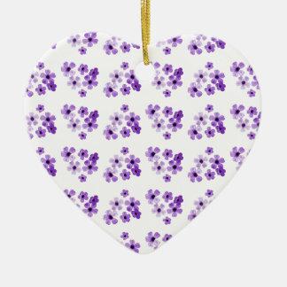 Ornement Cœur En Céramique Motif de fleurs pourpre