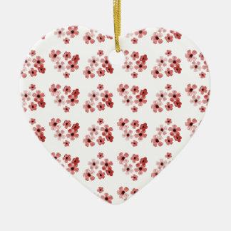 Ornement Cœur En Céramique Motif de fleurs rouge