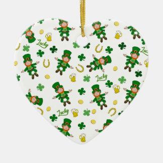 Ornement Cœur En Céramique Motif de Jour de la Saint Patrick