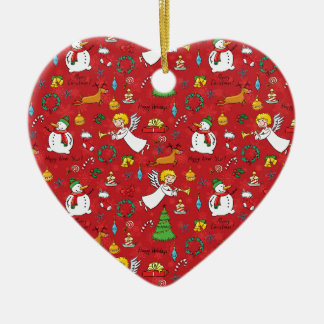 Ornement Cœur En Céramique Motif de Noël