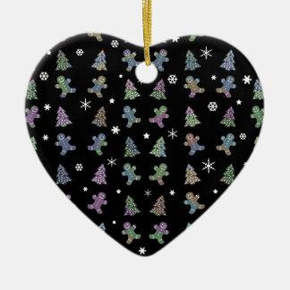 Ornement Cœur En Céramique Motif de Noël de biscuits de gingembre