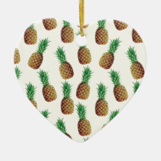 Ornement Cœur En Céramique Motif de papier peint d'ananas