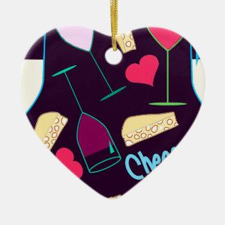 Ornement Cœur En Céramique Motif de partie de vin d'acclamations
