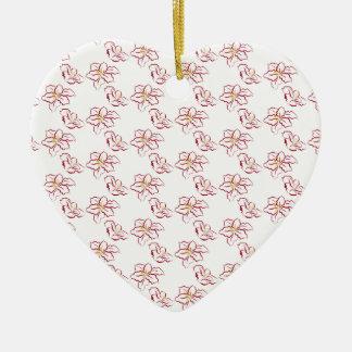 Ornement Cœur En Céramique Motif de poinsettia - blanc