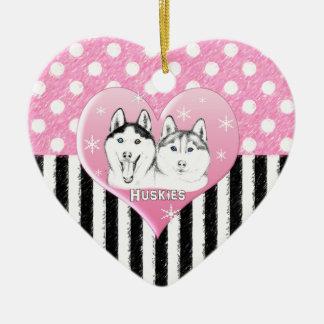 Ornement Cœur En Céramique Motif de rose de chiens de traîneau