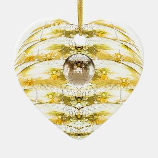 Ornement Cœur En Céramique Motif de ruche d'abeille de boule de disco