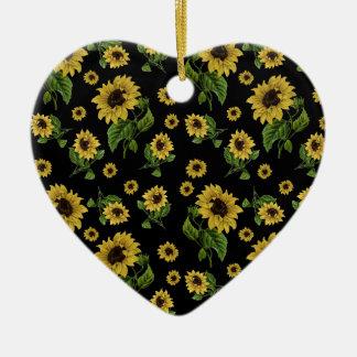 Ornement Cœur En Céramique Motif de tournesols