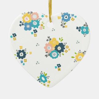 Ornement Cœur En Céramique Motif floral coloré