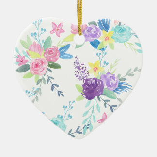 Ornement Cœur En Céramique Motif floral de couleur en pastel d'aquarelle