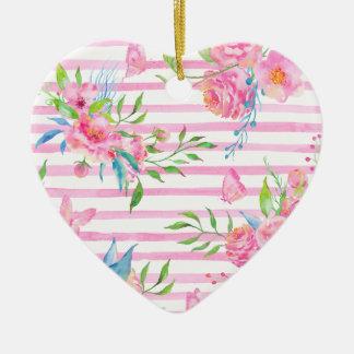 Ornement Cœur En Céramique Motif floral rose d'aquarelle avec des bandes