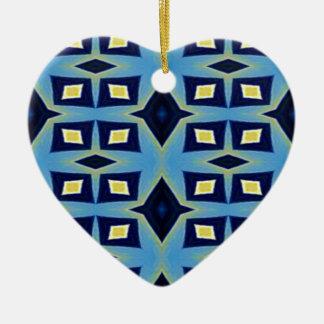 Ornement Cœur En Céramique Motif génial géométrique jaune bleu