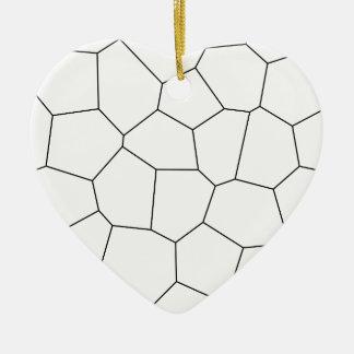 Ornement Cœur En Céramique Motif géométrique abstrait - noir et blanc.