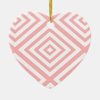 Ornement Cœur En Céramique Motif géométrique abstrait - rose et blanc