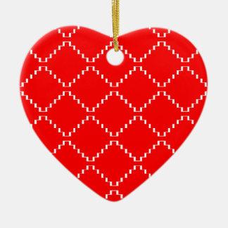 Ornement Cœur En Céramique Motif géométrique abstrait - rouge et blanc