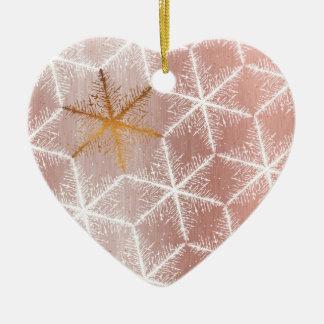 Ornement Cœur En Céramique Motif géométrique élégant de vacances de flocons