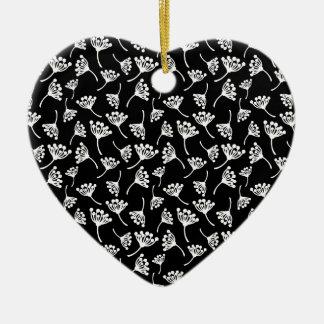 Ornement Cœur En Céramique Motif noir et blanc de pissenlit