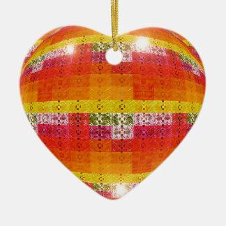 Ornement Cœur En Céramique Motif orange de boule de disco