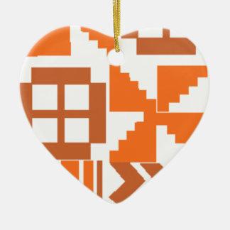 Ornement Cœur En Céramique Motif orange de Khanga