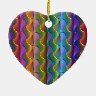 Ornement Cœur En Céramique Motif psychédélique coloré lumineux