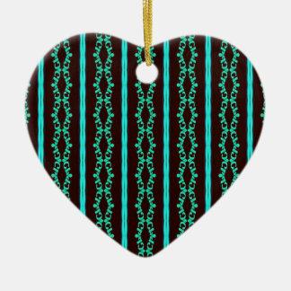 Ornement Cœur En Céramique Motif rayé turquoise au néon moderne
