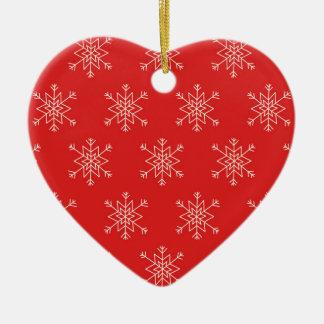 Ornement Cœur En Céramique Motif sans couture avec des flocons de neige. Fond