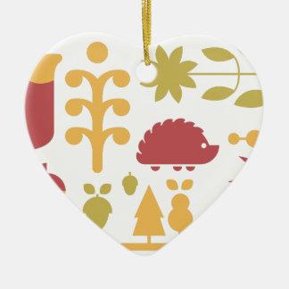 Ornement Cœur En Céramique Motif sans couture d'automne avec la forêt