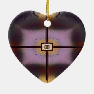 Ornement Cœur En Céramique Motif symétrique moderne magenta jaune de chute