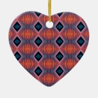 Ornement Cœur En Céramique Motif tribal moderne bleu de pêche texturisée