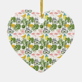 Ornement Cœur En Céramique Motif tropical de lunettes de soleil roses de