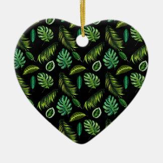 Ornement Cœur En Céramique Motif tropical Tiki floral fait main de feuille