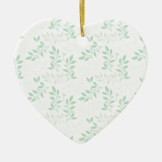 Ornement Cœur En Céramique Motif vert de feuille