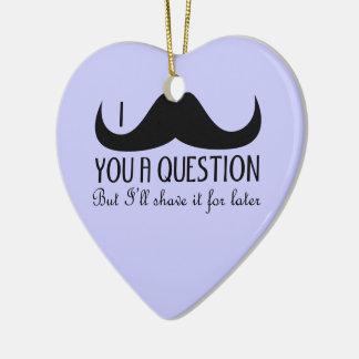 Ornement Cœur En Céramique Moustache à la mode et fraîche d'I vous une