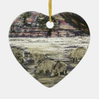 Ornement Cœur En Céramique Mouton-dans-hiver-Saison-Salutations
