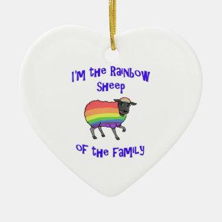 Ornement Cœur En Céramique Moutons d'arc-en-ciel de la famille