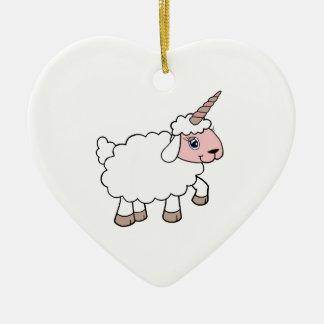 Ornement Cœur En Céramique Moutons de licorne