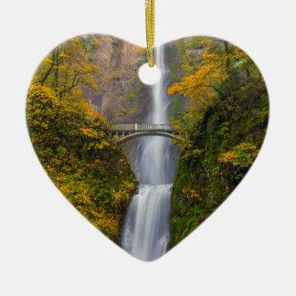 Ornement Cœur En Céramique Multnomah tombe dans des couleurs d'automne