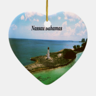 Ornement Cœur En Céramique Nassau Bahamas, phare dans le port