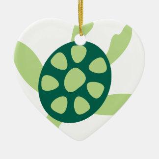Ornement Cœur En Céramique Natation de tortue verte