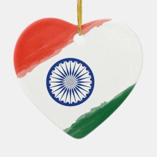 Ornement Cœur En Céramique Nation nationale de pays de l'Inde de drapeau