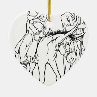 Ornement Cœur En Céramique Nativité Mary et illustration de Noël de Joseph