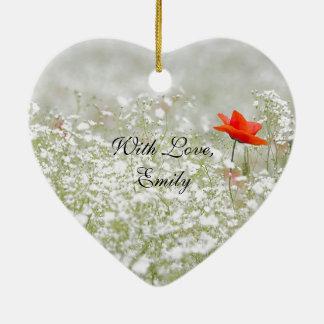 Ornement Cœur En Céramique Nature blanche rouge de pré de fleur romantique de