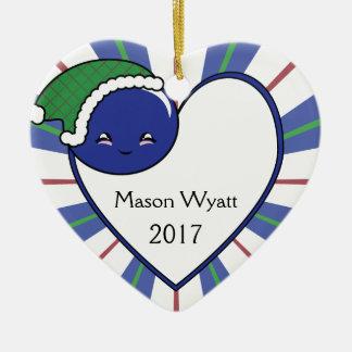 Ornement Cœur En Céramique Noël 2017 de panier de myrtille de Kawaii (garçon)
