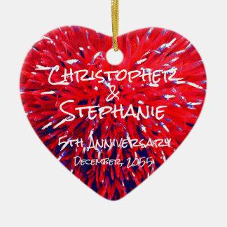 Ornement Cœur En Céramique Noël bleu blanc rouge d'anniversaire de coeur