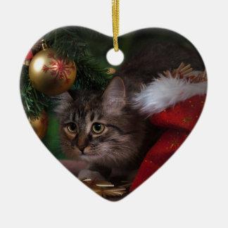 Ornement Cœur En Céramique Noël d'amour de chat Joyeux