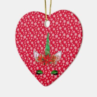 Ornement Cœur En Céramique Noël de la licorne de FD ornemente 53086A3
