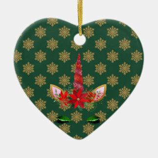 Ornement Cœur En Céramique Noël de la licorne de FD ornemente 53086B3