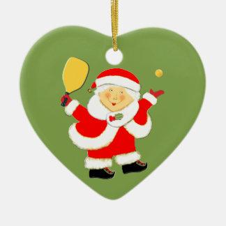 Ornement Cœur En Céramique Noël de Pickleball