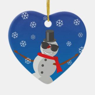 Ornement Cœur En Céramique Noël d'hiver de neige d'homme de neige