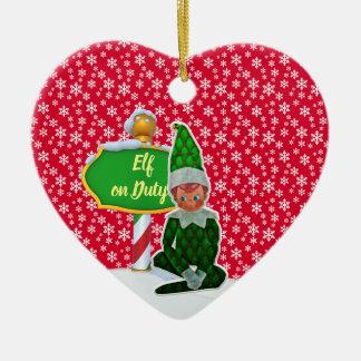 Ornement Cœur En Céramique Noël en service des elfes de FD ornemente 53086A18