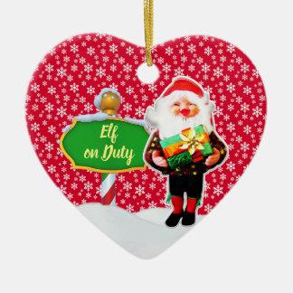 Ornement Cœur En Céramique Noël en service des elfes de FD ornemente 53086A21
